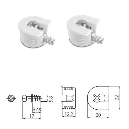 50x WHITE KNOCK DOWN CAM LOCK - FLAT PACK FURNITURE FITTING, DOWEL ASSEMBLY