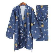Cute Cat Cotton Air Layer Pajamas Suit Tracksuit Bathrobe Men's Kimono Pajamas