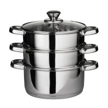 3-Tier Stainless Steel Steamer With Glass Lid