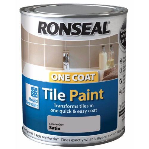 Ronseal One Coat Tile Paint - 750ml | Granite Grey Satin