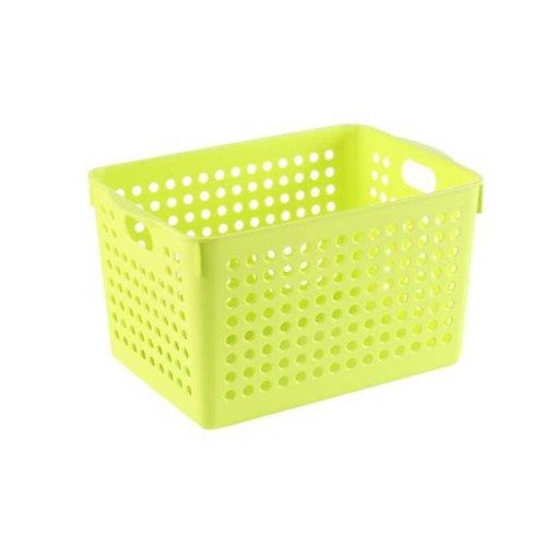 Plastic Storage Organizing Basket Closet Shelves Organizer Bins Set of 2 Yellow