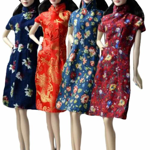 Random Color Chinese Style Doll Clothes Cheongsam Qipao for 30 cm Doll, 4 Pieces Evening Dresses