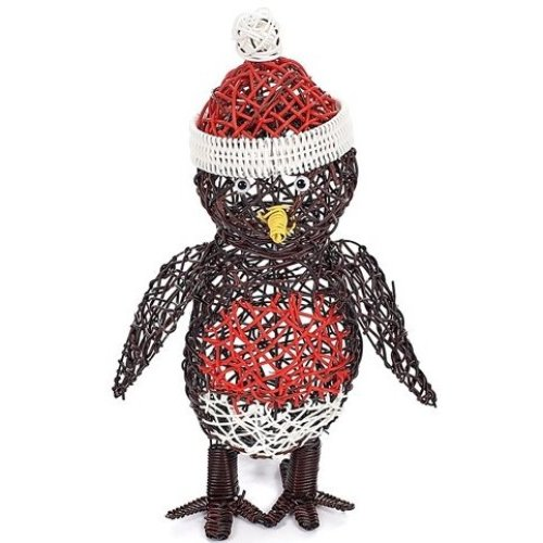 Rattan Robin Christmas Figure | Indoor & Outdoor LED Robin Figure