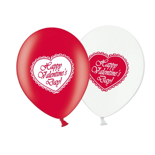 "Valentine's Day Lace Heart  - R&W Asst 12"" Latex Balloons pack of 12"