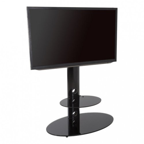 King Cantilever TV Stand with Brackets, Black, Oval Base, TVs up to 60""