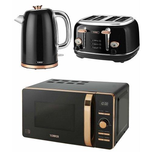 Tower Rose Gold Black Bottega Jug Kettle, 4 Slice Toaster & Digital Microwave