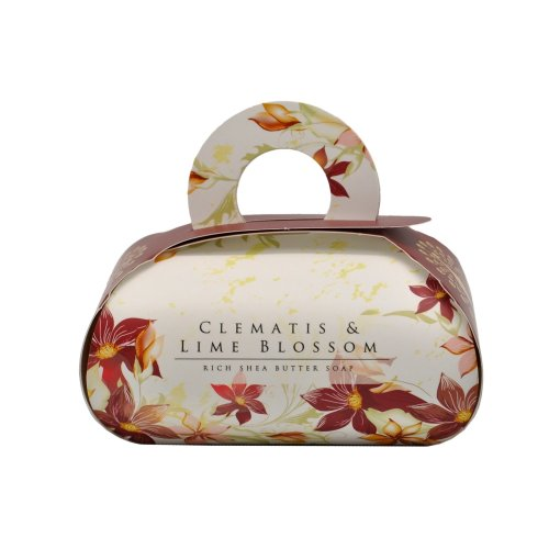 Clematis & Lime Blossom Large Bath Luxurious Gift Soap Rich shea butter body bar with essential oils.