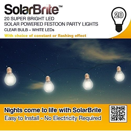 Solar Brite Deluxe 20 Bright White LED Solar Powered Festoon Party Lights Clear Bulb No Running Costs