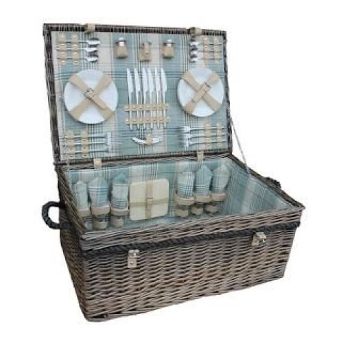 6 Person Deluxe Rope Handled Cream Tartan Fitted Picnic Basket