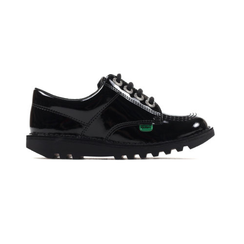 Kickers Kick Lo Classic Patent Leather Junior Kids Girls School Shoe Black