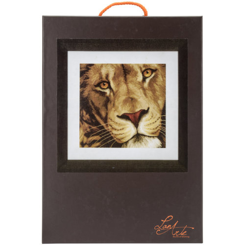"""LanArte King Of Animals On Aida Counted Cross Stitch Kit-13.75""""X13.5"""" 14 Count"""
