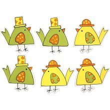 Wood Veneer Chicks Pack of Six Two Designs Stick On Scrapbooking Card Making