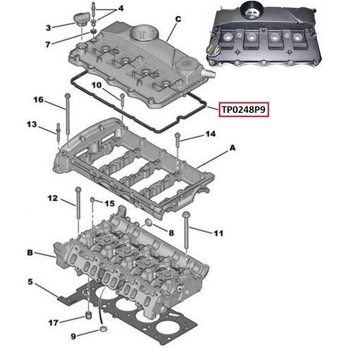 ENGINE VALVE CYLINDER HEAD ROCKER COVER FOR CITROEN, FIAT, FORD, JAGUAR, LANDROVER