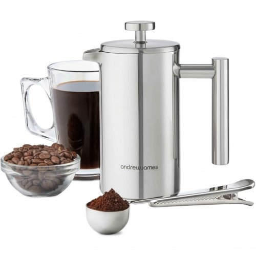 Andrew James Cafetiere French Coffee Press in Stainless Steel | Double Walled Insulated | Includes Measuring Spoon and Bag Sealing Clip - 350ml / 3...
