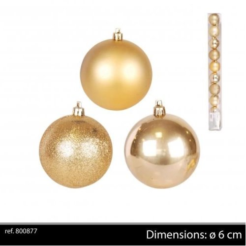 10Pk Christmas Baubles Gold D6