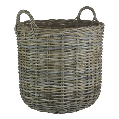 Large Tall Round Fireside Grey Rattan Log Basket
