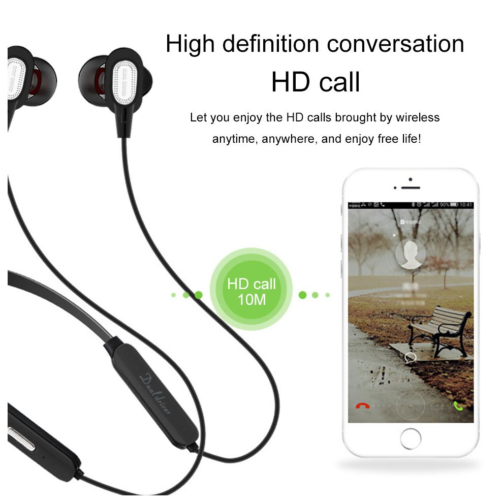 Bluetooth Headphones Wireless Magnetic Earbuds Stereo In-Ear Earphones  Noise Cancelling Running Headset with Mic and 12 Hours Playtime for iPhone