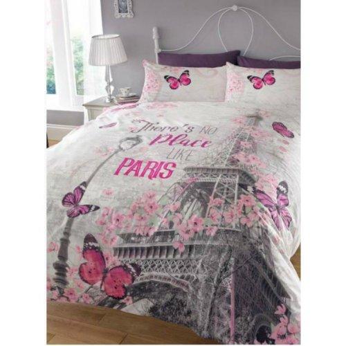 Paris Romance Grey Pink Eiffel Tower Butterfly Double Duvet Set