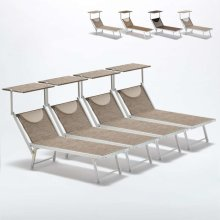 Set of 4 Sun Loungers with Head Shade Limited Edition SANTORINI