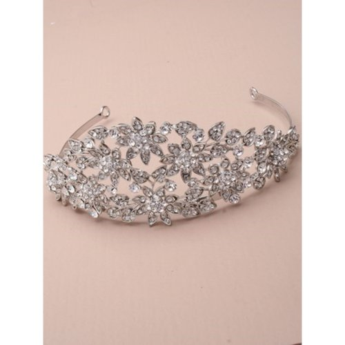 Vintage Plated Flower And Crystal Wedding Tiara