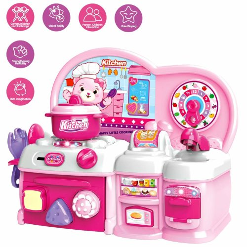 deAO Little Chef Kitchen Role Play Pretend Play Set with Blender, Oven and Cooking Hobs with Light Sound Functions for Children (Pink)
