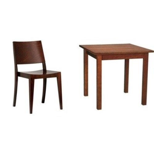 Wally Walnut Wood Square Table and Chair Set/chair Pack of 2