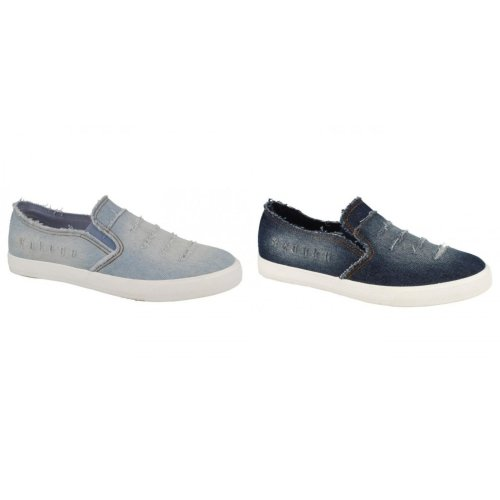 Spot On Womens/Ladies Distressed Denim Slip On Shoes