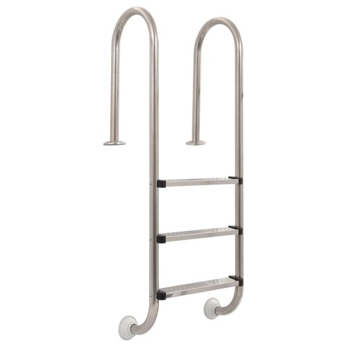 vidaXL Pool Ladder 3 Steps Stainless Steel 120cm Non-Slip Swimming Dock Stairs