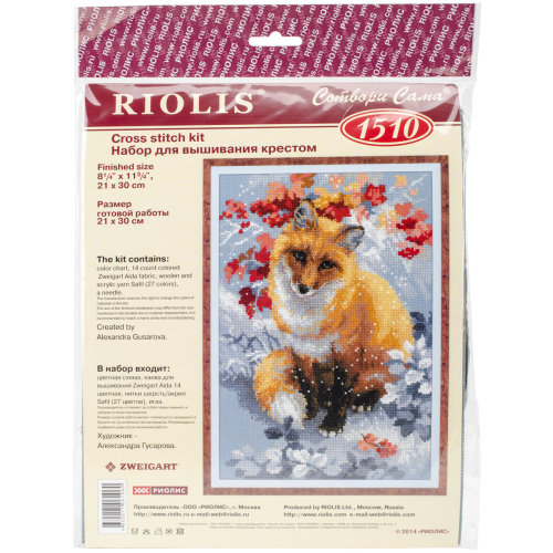 """Fox Counted Cross Stitch Kit-8.25""""X11.75"""" 14 Count"""