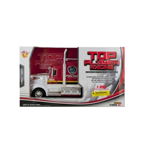 Kole Imports KL254-2 13.5 x 5.12 in. Friction Powered Police Semi-Trailer Truck, Pack of 2
