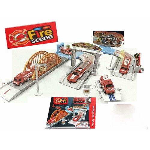 Fire Scene Kids Children Garage & Track Play Set Inc 2x Cars