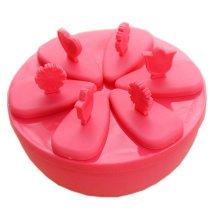Circular Box Ice Pop Molds 13.5*6CM,  Red, Set Of 6