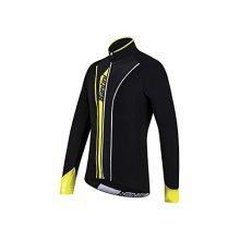 Santini 365 Vega Aqua Zero Long Sleeve Thermofleece Jersey - Black/yellow, -  santini vega jersey fw216075vega aquazero long sleeve thermofleece aw15