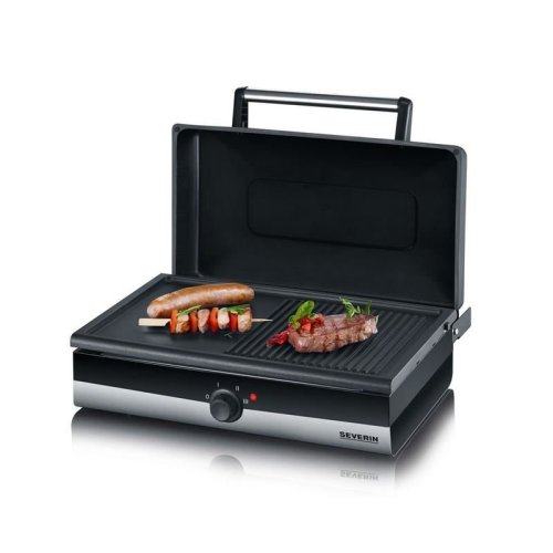 Severin PG2368 Barbecue Grill SMART-LINE Brushed Stainless Steel Black Non-Stick