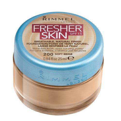 Rimmel London Fresher Skin Foundation, 200 Soft Beige, 25 ml