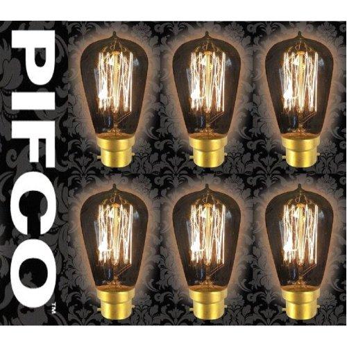 6 X PIFCO ST58 40 Watt B22 Bayonet Vintage Squirrel Cage Retro Light Bulbs