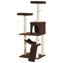 PawHut Multi-Level Cat Tree Scratcher Condo House Kitty Play Center Tower Scratching Post Ladder Hammock Toy Brown