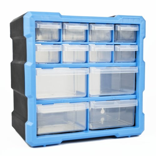 DIY Storage Organiser Unit with 12 Drawers Small Parts Craft Box Stationary Cabinet