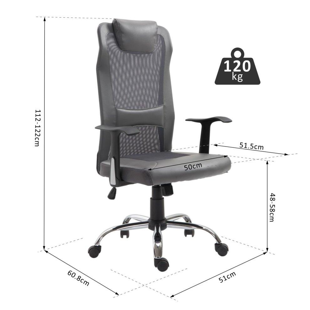 Strange Vinsetto High Back Executive Mesh Office Chair Ergonomic Computer Seat Adjustable Height 360 Degree Swivel Grey Ibusinesslaw Wood Chair Design Ideas Ibusinesslaworg
