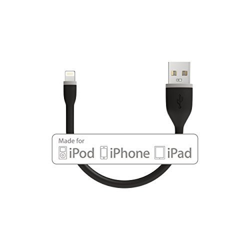 Satechi Flexible Lightning to USB Cable Apple MFI Certified for iPhone X 8 Plus 8 and more Black 6 Inches