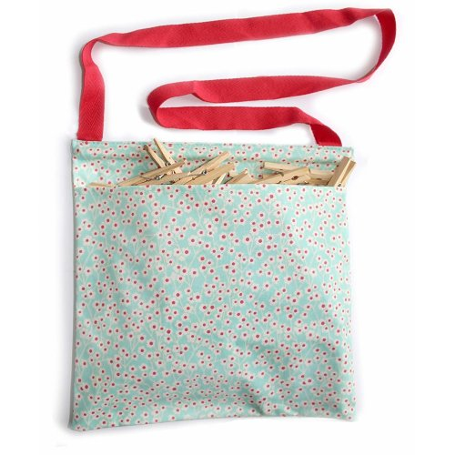 Vintage Kitchen Oil Cloth Peg Bag - Ditsy Floral Print - includes 50 quality wooden clip clothes pegs