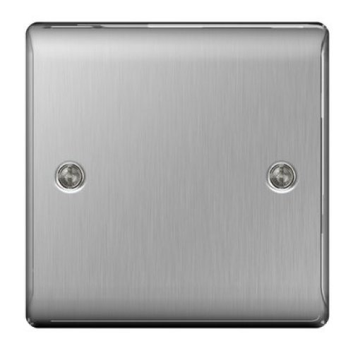 Masterplug NBS94 1-Gang Metal Brushed Steel - Blank Plate