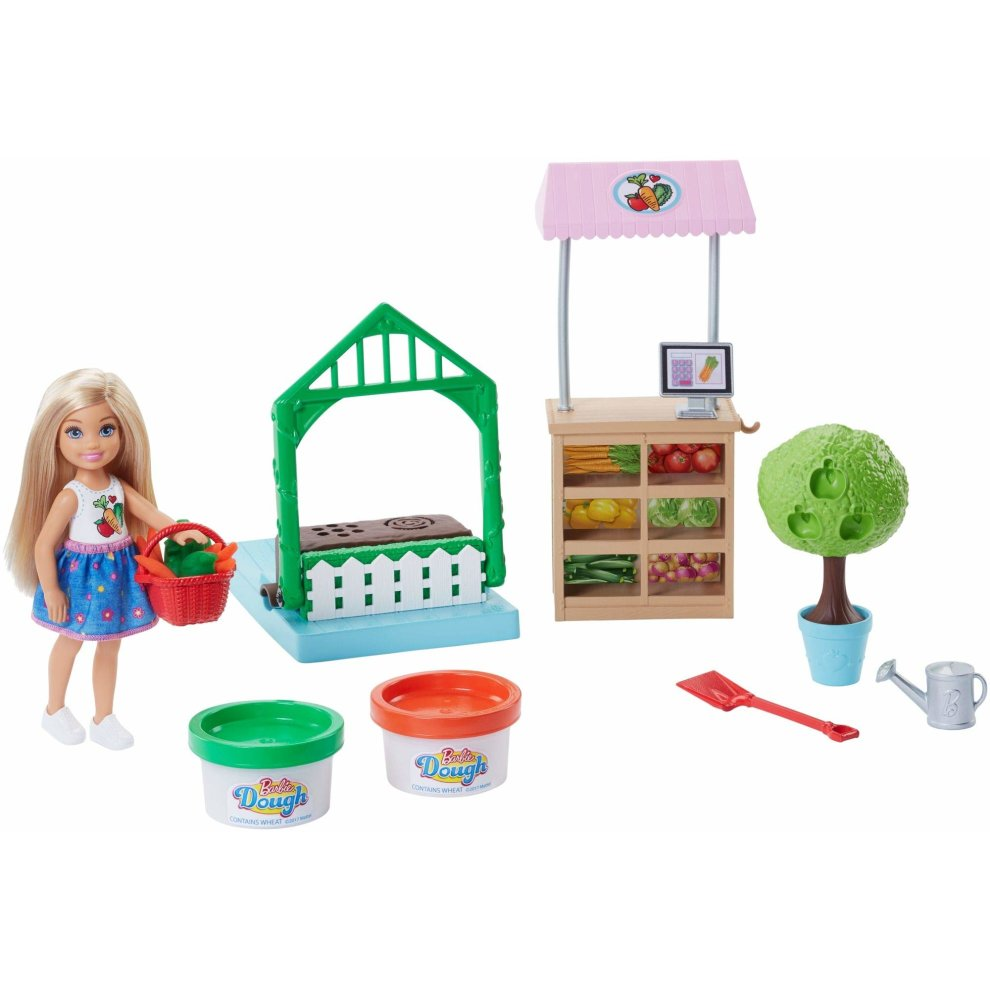 Barbie Frh75 Careers Veggie Garden Playdoh Comes With Blonde Chelsea Doll Accessories Playset Multi Colour Norme
