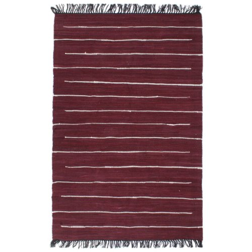 vidaXL Hand-woven Chindi Rug Cotton 120x170cm Burgundy Room Floor Carpet Mat