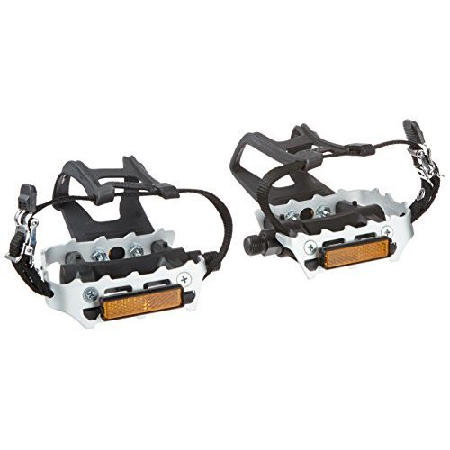 Diamondback 9 16 Inch Spindle Resin Alloy Bicycle Pedals with Toe Clips and Straps Black Silver