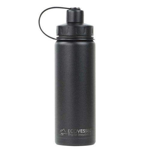 Ecovessel Boulder 600ml Hot Cold Drinks Water Bottle & Strainer  Black Shadow
