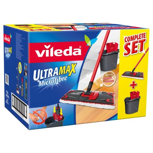 Vileda UltraMax Flat Mop and Bucket Set, Multi-Colour
