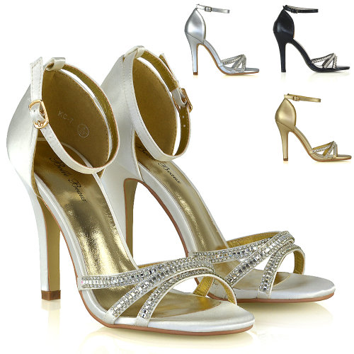 Womens Stiletto Heel Shoes Sparkly Ladies Bridal Evening Ankle Strap Sandals 3-8