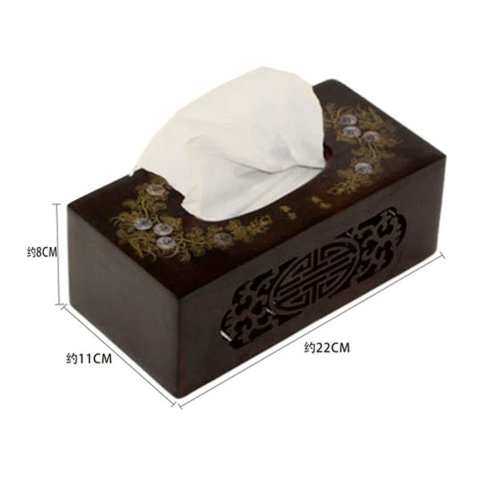 Hollowed-out Design Wooden Toilet Paper Tissue Paper Holder/Tissue Box,BLACK