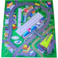 Airport Felt Play Mat with Roads and Train Track Design
